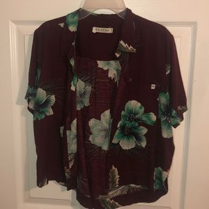 cropped hawaiin floral dad shirt button up
